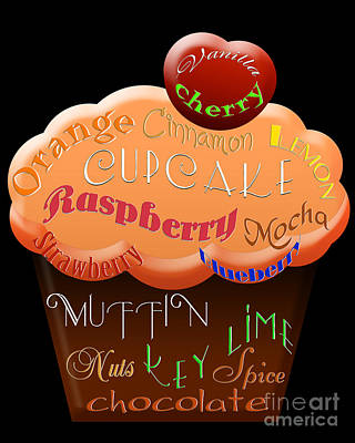 Raspberry Digital Art - Orange Cupcake Typography by Andee Design