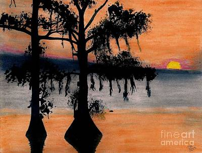 Cypress Tree Drawing - Orange Cypress Sunset by D Hackett