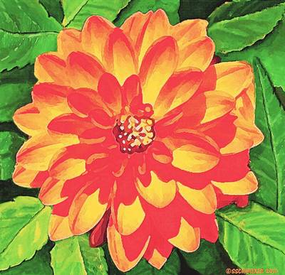 Painting - Orange Dahlia by Sophia Schmierer