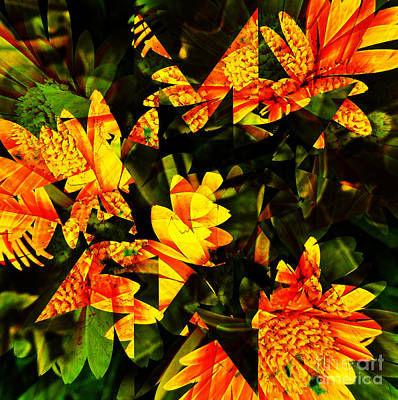 Digital Art - Orange Daisy Abstract by D Hackett