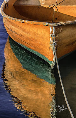 Art Print featuring the photograph Orange Dinghy In Warm Sun by Betty Denise