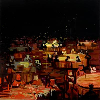 Black Tie Painting - Orange Dining Room 2 by Susie Hamilton
