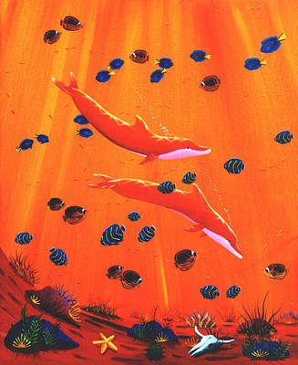 Painting - Orange Dolphins by Lance Headlee