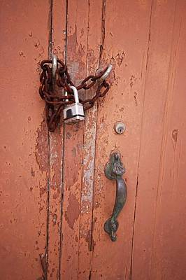 Painting - Orange Door Chained by Michael Thomas
