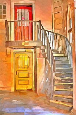 Staircase Painting - Orange Door Yellow Door  by L Wright