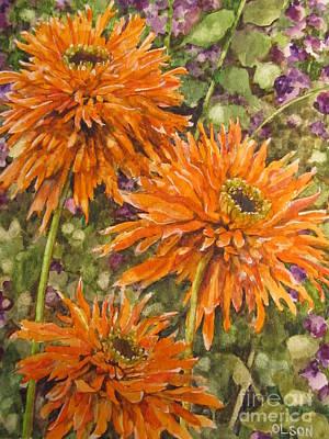 Painting - Orange Double Echinacea by Karen Olson