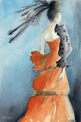 Abstract Fashion Designer Art Painting - Orange Evening Gown With Black Fashion Illustration Art Print by Beverly Brown Prints