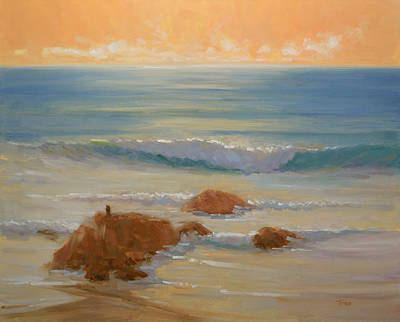 Painting - Orange Evening Surf by Timon Sloane