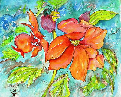 Orange Fire Flower Art Print by Ion vincent DAnu