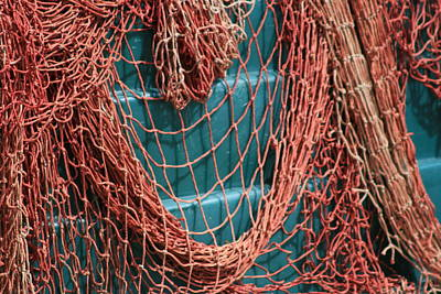 Photograph - Orange Fishing Net Over Aqua by Phoenix De Vries