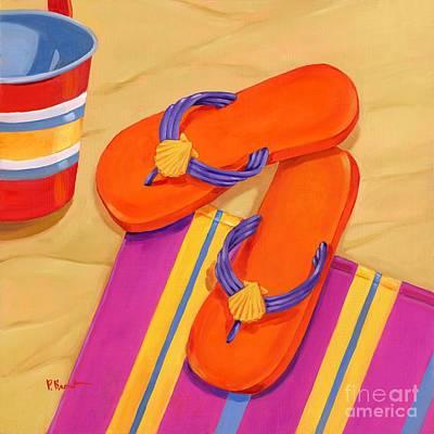 Flip-flops Painting - Orange Flip Flops by Paul Brent
