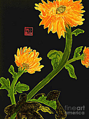 Orange Flowers  Chinese Watercolor Art Art Print by Merton Allen
