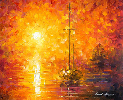 Orange Fog 3 - Palette Knife Oil Painting On Canvas By Leonid Afremov Original