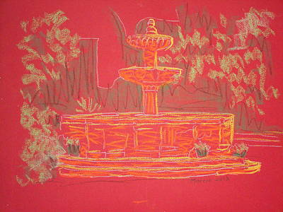 Orange Fountain Art Print by Marcia Meade