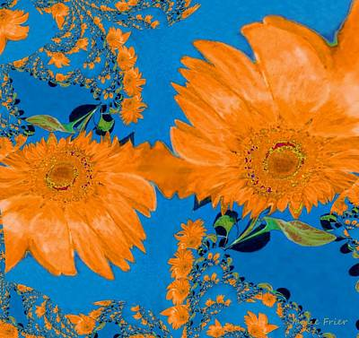 Digital Art - Orange Fractal Sunflower by Jamie Frier