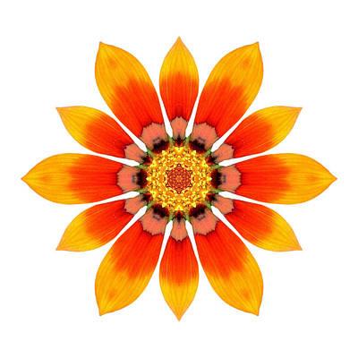 Photograph - Orange Gazania I Flower Mandala White by David J Bookbinder
