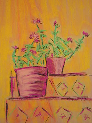 Pastel - Orange Geraniums by Marcia Meade