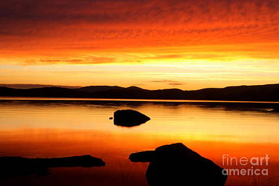 Photograph - Lake Umbagog Orange Sunset Glow  by Neal Eslinger