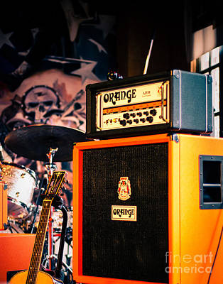 Squint Photograph - Orange Guitar Amps by Sonja Quintero