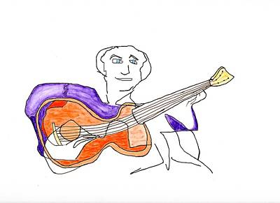 Painting - Orange Guitar by Jim Taylor