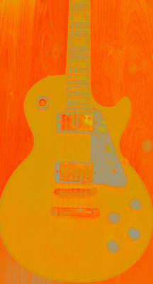 Digital Art - Orange Guitar  by Susan Stone
