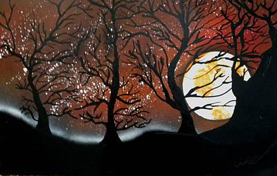 Harvest Deco Painting - Orange Harvest Moon by Chris DeVries
