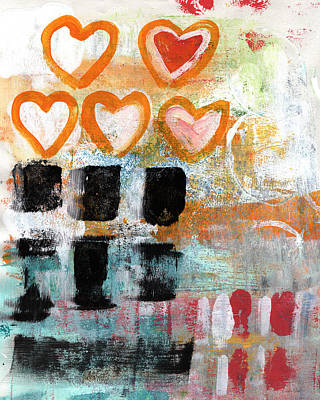 Abstract Royalty-Free and Rights-Managed Images - Orange Hearts- abstract painting by Linda Woods