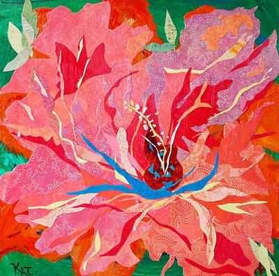 Orange Hibiscus Collage Art Print by Kat Ebert
