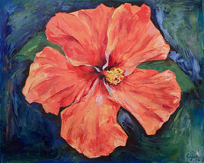 Impasto Oil Painting - Orange Hibiscus by Michael Creese