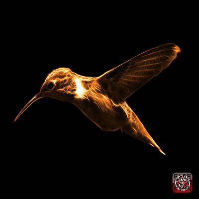 Digital Art - Orange Hummingbird - 2054 F by James Ahn