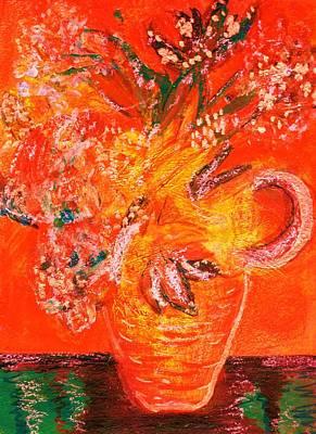 Orange Impressionistic Vase Of Flowers Art Print by Anne-Elizabeth Whiteway