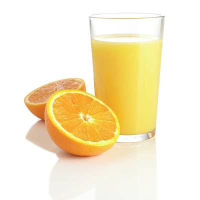 Orange Juice And Fresh Orange Art Print by Science Photo Library