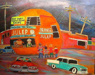 Gibeau Orange Julep. Decarie Blvd Painting - Orange Julep Icon by Michael Litvack