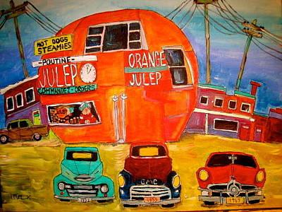 Mpntreal Painting - Orange Julep Truck Line-up Montreal Memories by Michael Litvack