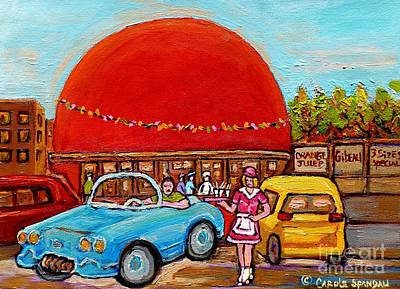 Streetscenes Painting - Orange Julep With Girl On Rollerblades Paintings Of Montreal Landmarks Diner Carole Spandau by Carole Spandau