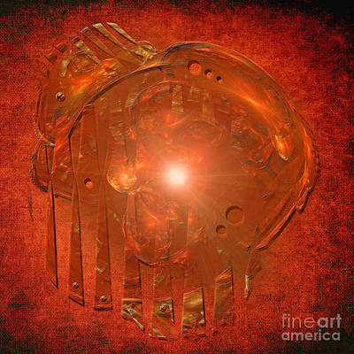 Print featuring the digital art Orange Light by Alexa Szlavics