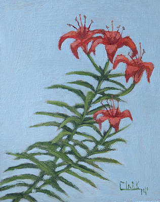Drawing - Orange Lilies by Wade Clark