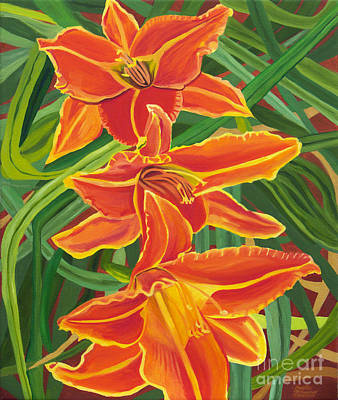 Painting - Orange Lilies by Annette M Stevenson