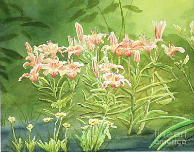 Lillies Painting - Orange Lillies In Morning by Kathryn Duncan