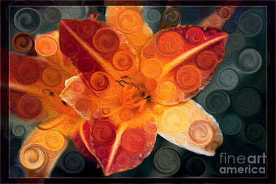 Painting - Orange Lily Abstract Explosion Of Vibrance by Omaste Witkowski