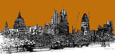 Skylines Drawings - Dark Ink with bright Orange London skies by Adendorff Design