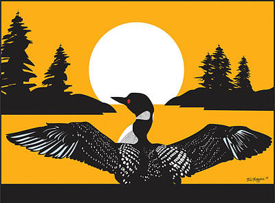 Orange Loon Art Print by Derrick Higgins