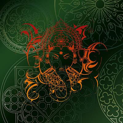 Digital Art - orange Lord Ganesha on green Mandala by ReadyForYoga Online-Shop