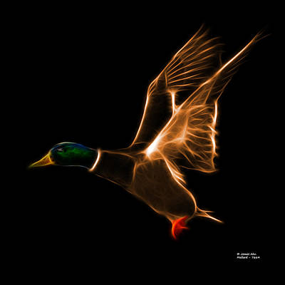 Mixed Media - Orange Mallard Pop Art - 7664 - Bb by James Ahn