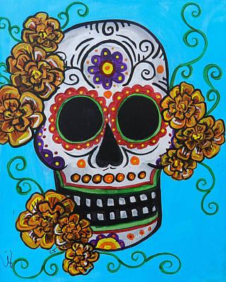 Orange Marigold Skull Art Print by Lovejoy Creations
