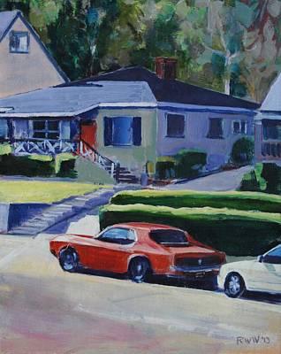 Orange Mustang Art Print