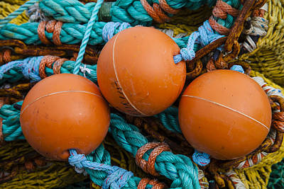 Fishing Net Photograph - Orange Net Floats by Carol Leigh
