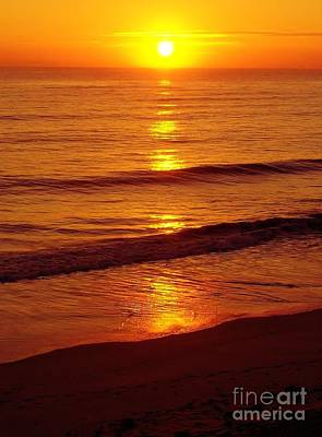 Photograph - Orange - Beach - Sunrise by D Hackett