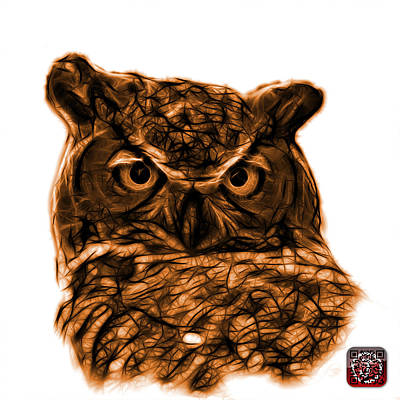 Digital Art - Orange Owl 4436 - F S M by James Ahn