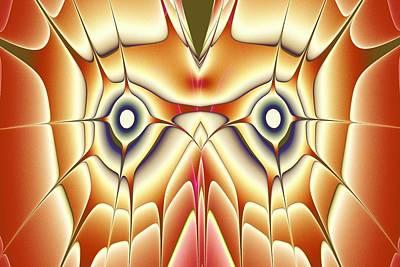 Abstract Digital Art - Orange Owl by Anastasiya Malakhova